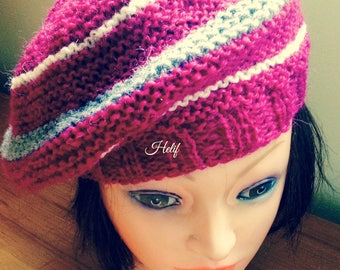 Hat Red fuschia and grey, one size seventies, Shetland and alpaca, France, creating Unique and original, Babooshka, hand knitting