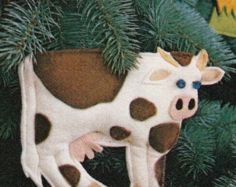 Barnyard Felt Christmas Ornament PATTERN~Barn~Chicken~Pig~Cow~Horse~Hen~Duck~Lamb~Sheep~Junior Farmer~Easy Instant Download PDF e-pattern