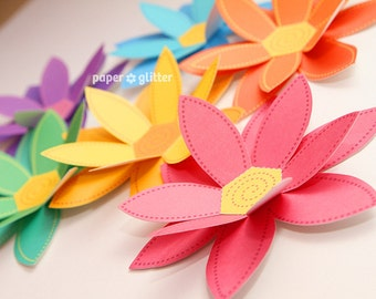 Paper Flowers Rainbow Paper Craft Set - 2 sizes - Printable PDF 0043