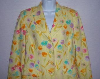 Vintage Herbert Grossman by Cynthia Sobel 2 Piece Yellow Pink Green Flower Floral Print Pique' Jacket Skirt 8 Suit Outfit Set