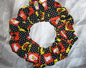 Halloween Hair Scrunchie, Holiday Fabric Hair Tie, Ponytail Holder , Checkered Halloween Icons