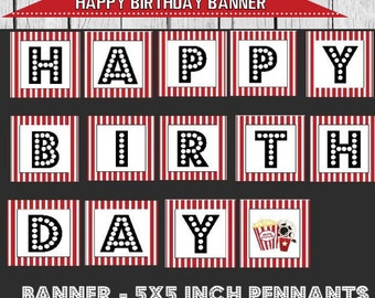 movie party banner, movie party decor, movie party, birthday banner, movie birthday printable, movie banner, cinema party banner,