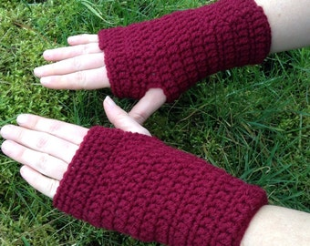 Raspberry wrist warmers, wrist gloves, fingerless mittens, smartphone gloves