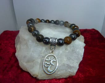 Genuine gemstones Tiger eye - HEMATITE bracelet