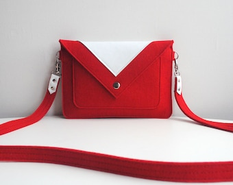 Small Red White Wool Felt Genuine Leather Crossbody Bag
