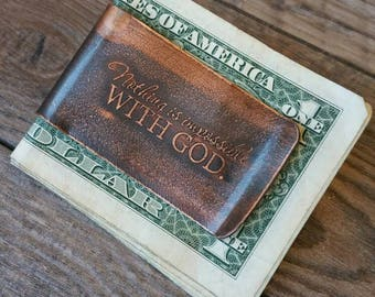 Nothing Is Impossible with God Etched Copper Money Clip