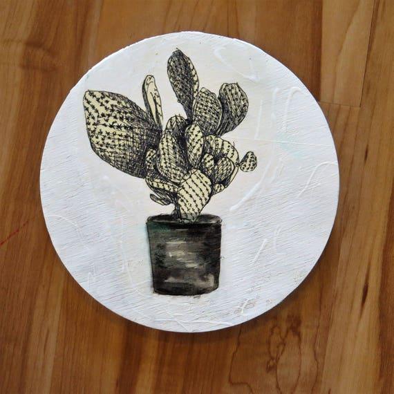 Cactus sketch black and white round art 20cm Timber Porthole