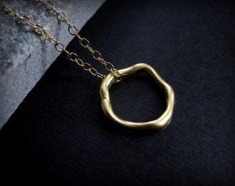 Gold Hoop Necklace - Tiny Gold Necklace -  Tiny Gold Hoop Necklace - Everyday Gold Necklace - Modern Necklace Gold  - Minimal Gold Necklace