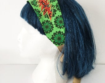Green floral Grateful Dead headband - Orange floral 13 point bolt