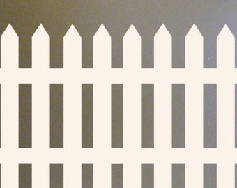 Picket Fence Vinyl Wall Decal French Country Home cottage chic decor for Kids Room pretty white garden gate border