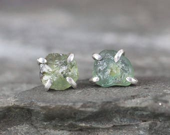 Montana Sapphire Earrings - Blue Green Gemstone - Natural Uncut Rough Montana Sapphire - Rustic Sterling Silver Earring