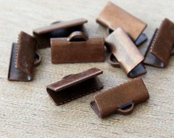 Ribbon Ends, Antique Copper, 13x5mm Smooth - 20 pcs - eRE13x6-AC