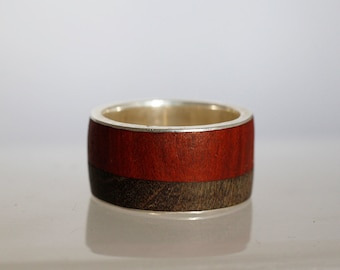 Wide custom wooden wedding big band, statement jewelry for men, ring for him.