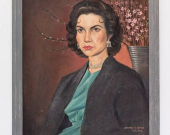 Oil of board of dark haired woman 'Sally' - signed 1958