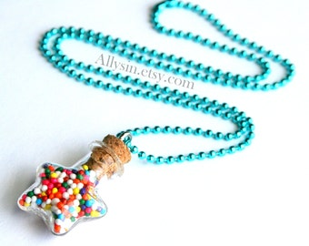 Whimsical Sprinkles Necklace, Star Bottle Necklace, Kawaii Rainbow Jewelry