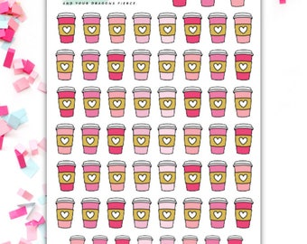 Pink Coffee Cups Planner Stickers