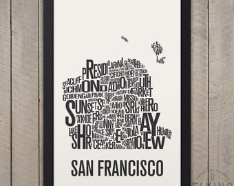 SAN FRANCISCO Neighborhood Typography City Map Print