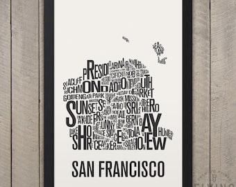 SAN FRANCISCO Nachbarschaft Typografie Stadt Karte drucken