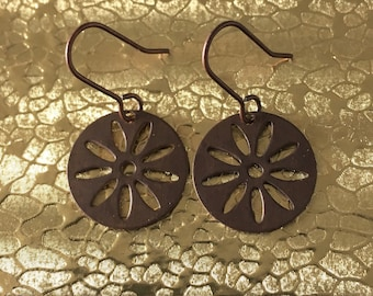 Antique Brass Round Disc Flower Dangle Earrings