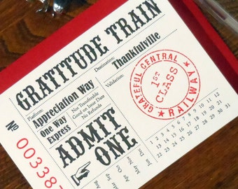 letterpress customizable grattitude train tickets pack of 6 greeting card thank you pink black red
