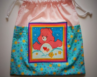 CARE BEAR bag l Nursery, Book Bag, Toy Bag, Kindy, reusable drawstring gift bag