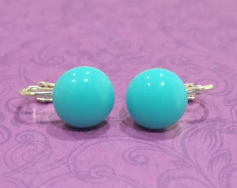 Clip On Earrings, Turquoise Blue, Non Pierced Earrings, Turquoise Glass Jewelry  - Charmain - 206 -5
