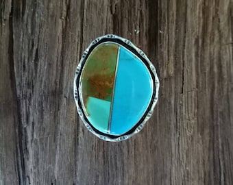 Handmade Sterling Silver and Geometric Turquoise Inlay Statement Ring - Boho Turquoise Statement Ring - One of a Kind Turquoise - Size  8.7