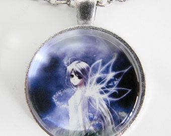 GOSSAMER FAIRY Necklace, Fairy with enchanting eyes, Magical fairytale creature in blue and white