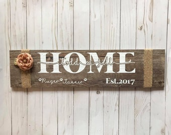 Personalized Family Wood Grain Ceramic Tile Sign