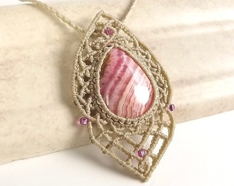 Rhodochrosite Macrame Necklace, Lacy Boho Gemstone Necklace, Rhodochrosite Pendant