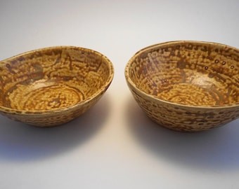 Speckled Tan Stoneware Ceramic Bowls (Set of 2), Handmade Pottery, Hand Painted, Hand Thrown, Kitchenware (B0015)
