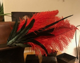 Red and Black Feather Hat Pin, Red and Black Feather Hair Clip, Red and Black Ostric Hat Clip, Ostrich Hat Feather