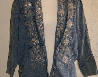 Vintage Sport Coat Type Stonewashed Denim Jacket By ULTRA Beaded Embroidered Studded Decorated Front Size Medium