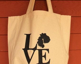 MDI LOVE Design Grocery Tote Bag -  Screen Printed Original Design