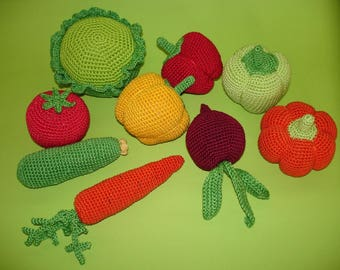Pretend play food  Kids Toy Montessori Food  toy Crochet vegetable fruit Kitchen play Soft toy Learning toy Amigurumi food  Nursery Decor