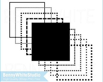 9 Digital Square Frames Clip Art. Black Thin Outline Frames. Dots Line Frame. For Personal and Small Commercial Use. B-0143