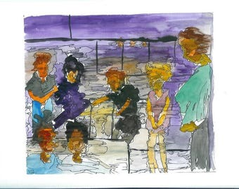 Original Watercolor and Ink Painting   'People on a Bus'