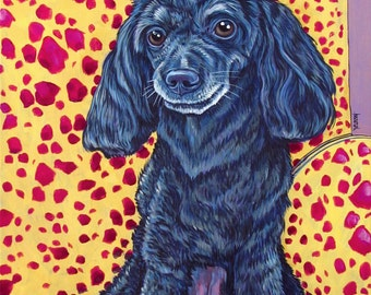 "Custom Pet Portrait Painting on Canvas in Acrylic Paint 16"" x 20"" of 1 Dog, Cat, Other Pets Custom Background OOAK Pet Lover Holiday Gift"