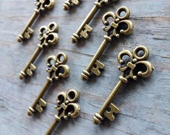 Skeleton Keys Bulk Skeleton Keys Steampunk Keys Antiqued Bronze Key Wedding Key Pendants Vintage Small Skeleton Key Charm 25mm/1 inch 20 pcs