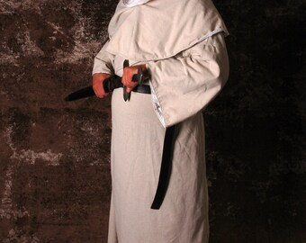 Men's Medieval Monk's Robe & Hood (Off-White Osnenberg Cotton) Costume Garb SCA LARP Renaissance Floor-Length Shirt Tunic Surcoat