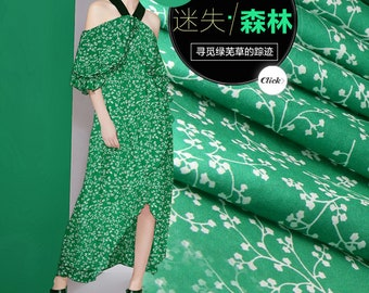 Green Silk Crepe de Chine Fabric With Small Floral Print Fabric By the Yard
