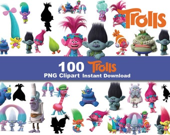 INSTANT DL- 100 x Trolls clipart png - printable Digital Clipart Graphic sticker Instant Download