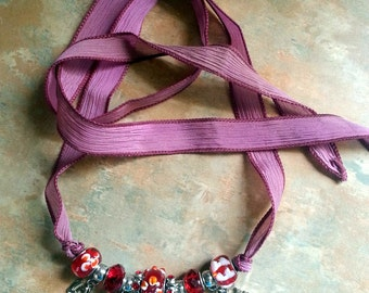 Lovely Pink and Red Hearts Silk Wrap Bracelet/Necklace/Love