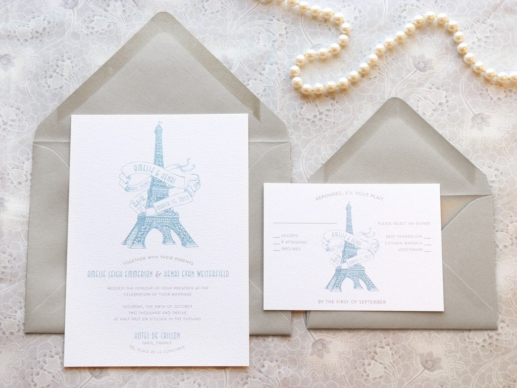 Eiffel Tower Paris Printable Wedding Invitations French