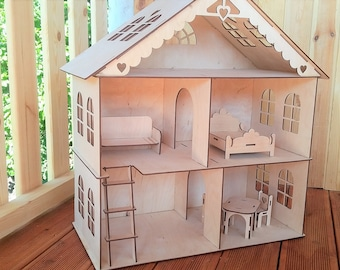 Dollhouse with stairs and furniture, Wooden dollhouse, Doll house Wood, Wood dollhouse