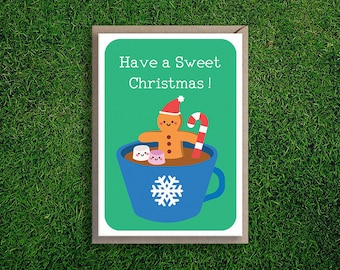 Greeting Cards | Christmas Card Festive Holidays Xmas Cute & Quirky Gingerbread Gingy Marshmallow Candy Cane Snow Flake Hot Chocolate Cup
