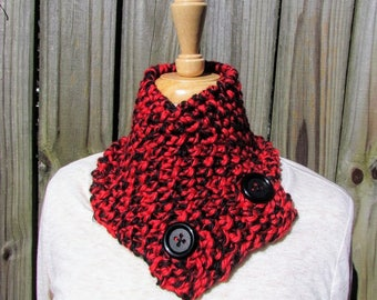 Handmade Two Button Red and Black Scarf