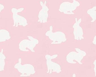 Pink and White Bunnies Head Organic Fabric - By The Yard - Girl / Pink / Fabric