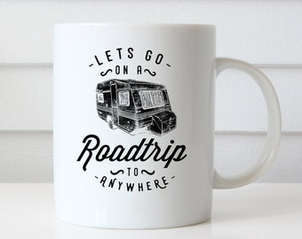 Road Trip Coffee Mug, Roadtrip Coffee Mug, Adventure Mug, Coffee Lovers Gift, Birthday Gifts, Quote Coffee Mug Typography Mug Christmas Gift