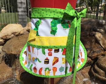 Very Hungry Caterpillar Dots Vendor Apron, Half Apron, 6-8 Pockets, great for Gardening, Utility, Teachers, Teachers Gifts, Eric Carle